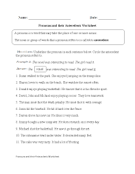 pronouns and their antecedents worksheet middle books