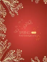golden floral ornament on paprika background vector download