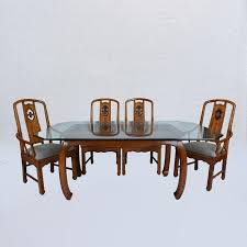 traditional or classic glass oak thomasville dining table