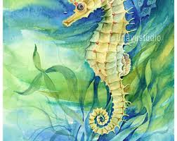 Nautical Painting Seahorse Painting Etsy
