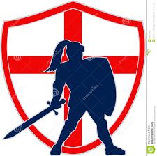 Englands Flag Englischer Ritter Silhouette England Flag Retro Vektor Abbildung