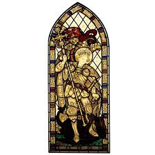 stained glass window st george and the dragon hand painted stained glass window for