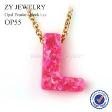 pendant l with chain high quality pink opal pendant necklace gold color chain l letter