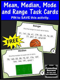 mean median mode range task cards 5th 6th grade math review games
