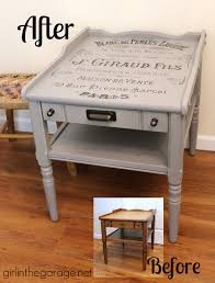 table makeover with french perfume graphic themed makeover