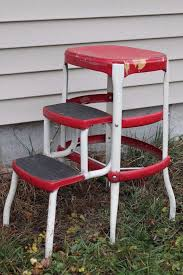 Cosco Bar Stool Vintage Red White Cosco Mid Century Kitchen Step Stool Fold Out