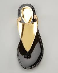 rachel zoe cami jelly thong sandal in metallic lyst