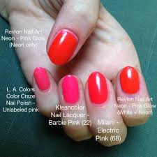 neon pink red nail polish comparison
