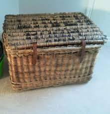 Laundry Room Basket Storage by Vintage Large Antique Wicker Basket Chest Laundry Linen Collect