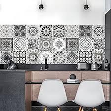 stickers carreaux cuisine 36 carrelage adhésif 15x15 cm ps00028 décorations en noir et