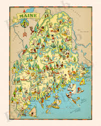 Maine State Map pictorial map of maine colorful fun illustration of vintage