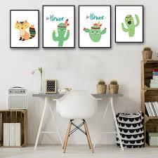 cactus home decor cartoon fox cactus children room nursery art canvas poster print