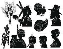 Thanksgiving Pilgrims And Indians Thanksgiving Native Americans And Pilgrims Stock Vector Art