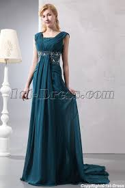 hunter green chiffon v neckline plus size formal dress with train