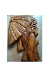carved wood sculpture with umbrella large wood wall