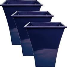 3x large blue square metallic plastic planters flower garden pots