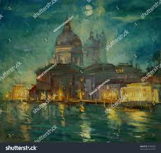 night venice painting by oil paint stock illustration 93300598