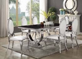 antoine dining table 107871 coaster w chrome base u0026 options