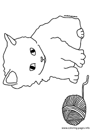 kitten playing barn kitten coloring pages printable