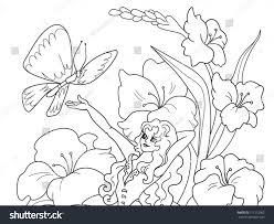 thumbelina sitting flower vector black stock vector 711212902