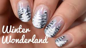 easy nail art winter wonderland snow covered trees youtube