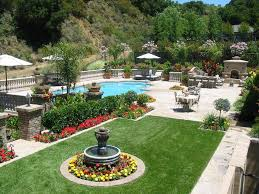 french courtyard landscape mediterranean with backyard water fountain