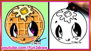 cute food waffle how to draw cartoons fun2draw kawaii youtube