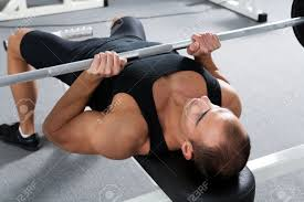 Bench Press Wide Or Narrow Grip Young Bodybuilder Training In The Gym Triceps Close Grip