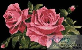 pink roses 1 cross stitch pattern roses