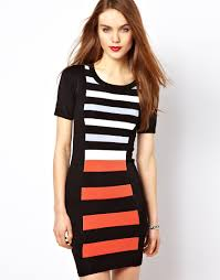 french connection striped bodycon dress lyst