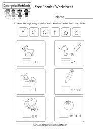 free phonics worksheet free kindergarten english worksheet for kids