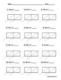 lattice multiplication 2 digit by 1 digit 10 pages lattices