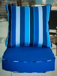 Poolside Seat Cushion Custom Chair Cushion In Sunbrella Canvas True Blue With A Milano