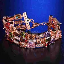 rose gold plated bracelet images Luxurious multi color zirconia mona lisa 3 layer bracelet jpg