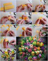 Spring Flower Bouquets - how awesome is this crepe paper spring flower bouquet diys