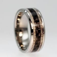 deer antler wedding band unique carbon fiber ring inlaid between deer by jewelrybyjohan