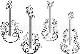 abstract acoustic guitar icons with floral ornament in the form of