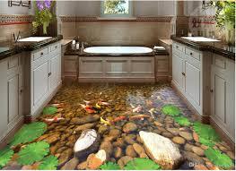 custom any size goldfish creek bathroom toilet 3d floor mural 3d