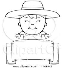 banner coloring pages cartoon clipart of a black and white farmer boy over a banner