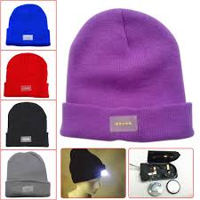 running hat with lights 21 colors winter warm beanies hat led light sports beanie knitted