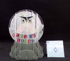let it snow owl pop up snow globe greeting card holiday christmas