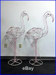 large metal wire frame pink flamingo planter sculpture yard pair