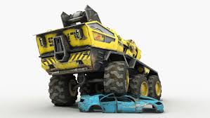animated wrecked car max future crane truck sci fi car