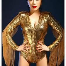 gold rhinestones rivet competition performance fringes