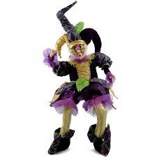 mardi gras jester costume sitting jester mardi gras doll 36 72066 mardigrasoutlet