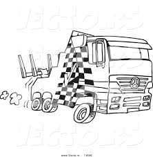 vector of a cartoon fast tow truck coloring page outline by
