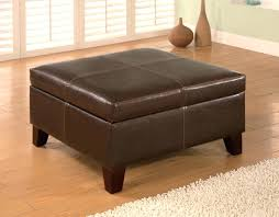 Leather Square Ottoman Coffee Table Storage Square Ottoman Leather Square Ottoman With Exposed Wood