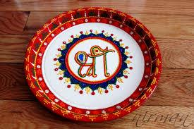 shree ganesh pooja thali decorative henna mehndi design