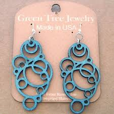green tree earrings green tree jewelry cherry laser cut wood earrings made