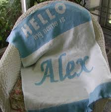 personalized knit baby blanket hello name tag